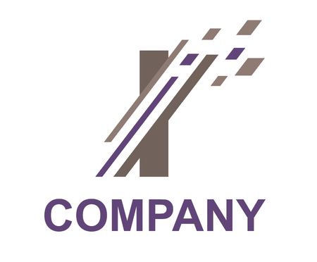 purple and grey color logo symbol digital slice type letter i like pixel image initial business logo design idea illustration shape for modern premium corporate Çizim