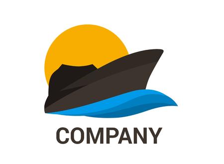 Buque logístico para el envío, importación, exportación, comercio, navegar sobre el océano, estilo de diseño plano, ilustración de logotipo con color azul