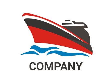 Buque logístico para el envío, importación, exportación, comercio, navegar sobre el océano, estilo de diseño plano, ilustración de logotipo con color azul Logos