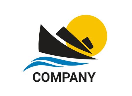 navire logistique pour l'expédition import export commerce voile sur océan illustration de logo de style design plat avec couleur bleue Logo