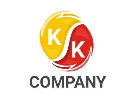 k alphabet text type initial iconic logo design illustration in twister swirl wind spiral rotation like black hole in colorful color