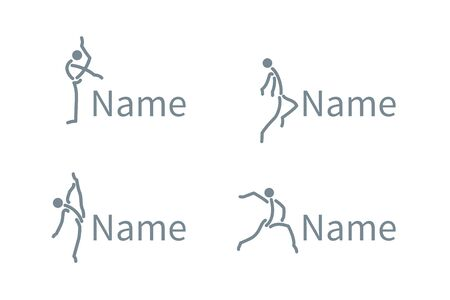 Silhouette of active people dancing. Logo for dance classes, healthy generic activity. Simple icon for websites, info graphics, Illustration