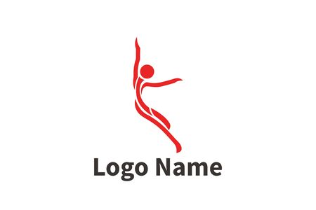 Silhouette of active people dancing. Logo for dance classes, healthy generic activity. Simple icon for websites, info graphics, Foto de archivo - 138538299
