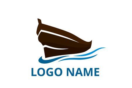 Schiffslogo-Design für logistische Import-Export-Handels-Docking-Unternehmen. Konzeptsymbol für Reisebüro im Urlaub.