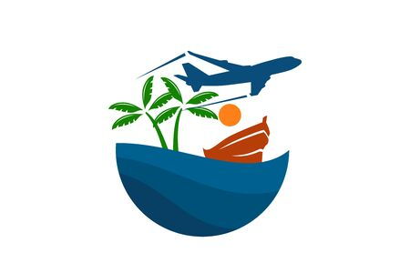 plane logo design leaving beach in tropical island concept icon for touring trip travel tourism agency. Summer holiday logo with ocean, tree.