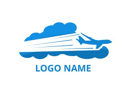 icon shape of plane fly in the sky with cloud logo design idea concept for travel, sport, adventure journey, education aviation company.