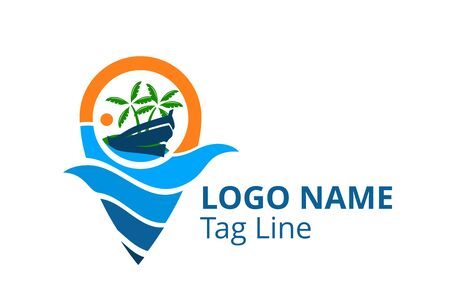 ship logo design leaving beach in tropical island concept icon for touring trip travel tourism agency. Summer holiday logo with ocean, tree shape line pin point