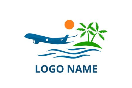 plane logo design leaving beach in tropical island concept icon for touring trip travel tourism agency. Summer holiday logo with ocean, tree. Logo