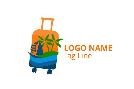 ship logo design leaving beach in tropical island concept icon for touring trip travel tourism agency. Summer holiday logo with ocean, tree shape like suitcase.