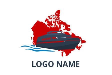 ship logo design for logistic import export trade docking company. Concept icon for trip travel agency in holiday with canada map background. sail over canada. Logos
