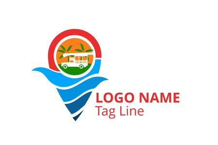 car logo design leaving beach in tropical island concept icon for touring trip travel tourism agency. Summer holiday logo with ocean, tree. shape like pin point.