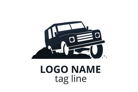 4x4 extreme adventure sport utility vehicle car icon for community emblem. Off-road car vehicle logo sign design for journey travel agency or club.
