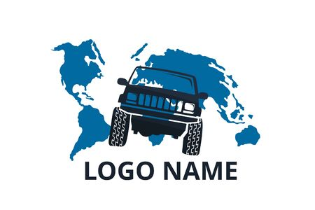 4x4 extreme adventure sport utility vehicle car icon for community emblem. Off-road car vehicle logo sign design for journey travel agency or club. drive over world.