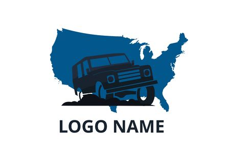 4x4 extreme adventure sport utility vehicle car icon for community emblem. Off-road car vehicle logo sign design for journey travel agency or club. drive over america.