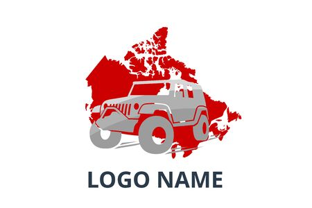 4x4 extreme adventure sport utility vehicle car icon for community emblem. Off-road car vehicle logo sign design for journey travel agency or club. drive over canada.