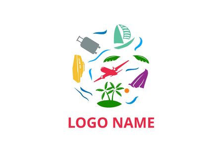 plane logo design leaving beach in tropical island concept icon for touring trip travel tourism agency. Summer holiday logo with ocean, tree, ship.