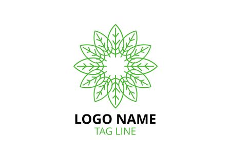 Creative Logo icon sign design Template for healthy organization, consultant, finance, hospital, investment corporate, resident company. leaf shape like mandala. Ilustracja