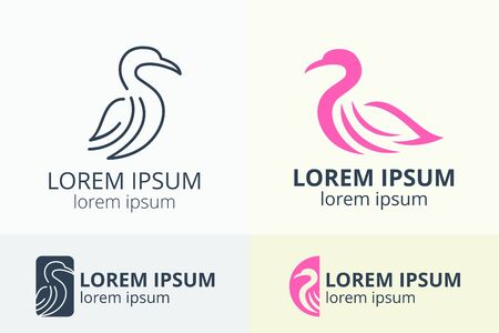 logo design of flamingo bird silhouette template in creative shape isolate vector illustration use for any modern business.