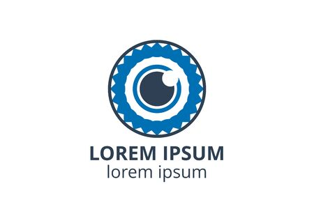 Creative shape lens design symbol of camera. Template icon logo for photography studio, media business, or digital application.