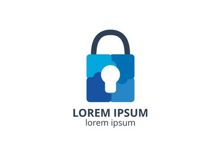 logo icon design of key silhouette template in creative shape isolate vector illustration use for any modern data security service, on website or application.