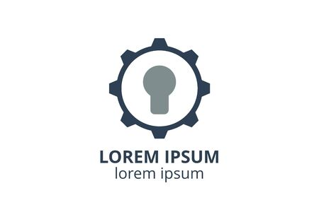 logo icon design of key silhouette template in creative shape isolate vector illustration use for any modern data security service, on website or application. Imagens - 147262428