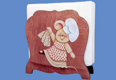 Cute mouse painted  on a  napkin holder