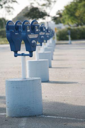 parking violation: Row of parking meters