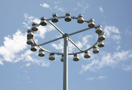pilaster: Round light pole with sky background Stock Photo