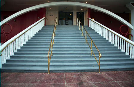 entranceway: Stairway with brass bannisters