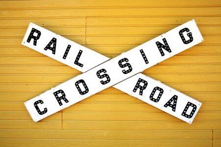 Sign saying railroad crossing photo