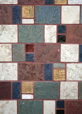 grout: Tile wall with rich colored grout Stock Photo
