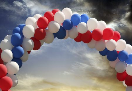 insertion: Archway of balloons with evening sky background, digital picture that is great as a photographers prop for isolated image insertion
