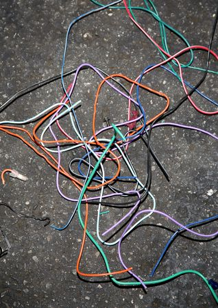 Electrical wire debris from a construction job Stok Fotoğraf
