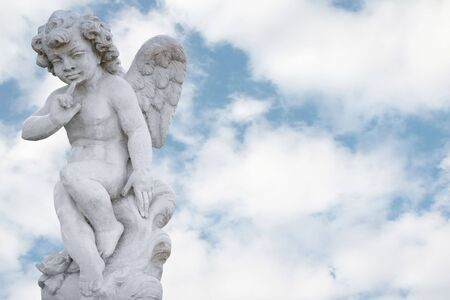 blue sky thinking: Angel with pretty cloudy sky