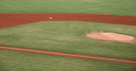 infield: Sports field with grass and dirt infield Stock Photo