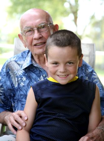 Grandson with grandfather Stock Photo - 526805