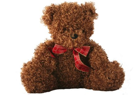 cuddly: Cute and cuddly teddy bear with a Christmas bow