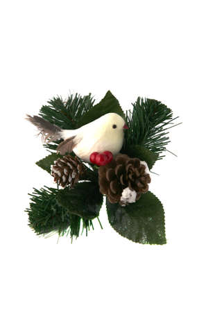 Bird with a couple of pine cones ornament photo