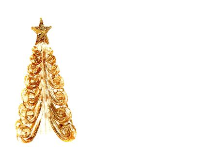fake christmas tree: Beautiful golden fake Christmas tree with copy space