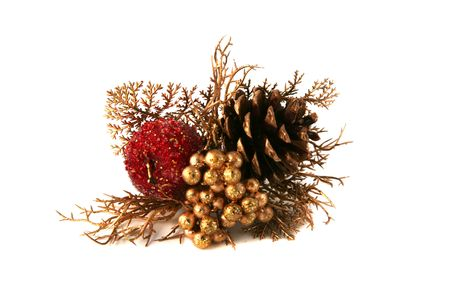 pine cone: Apple and berry Christmas decoration with pine cone