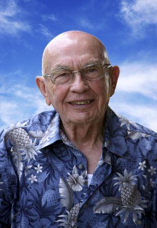 completely: Older gentleman that is almost completely bald
