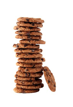 Tall stack of delicious chocolate chip cookies Stok Fotoğraf - 632650