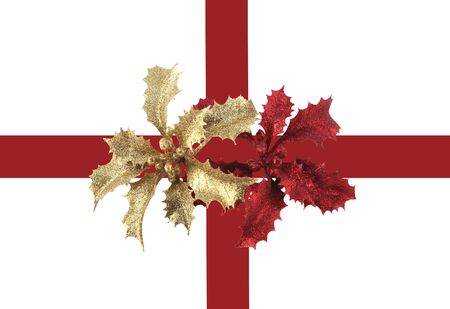 Gorgeous golden and red holly on a delightful holiday package photo