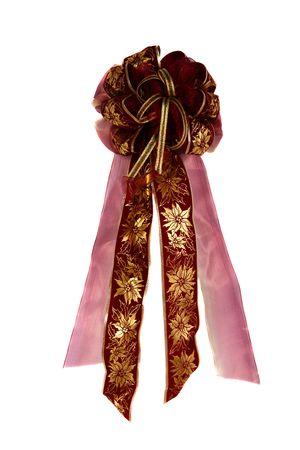 Gorgeous handmade decorative bow with primary gold and burgundy colors photo