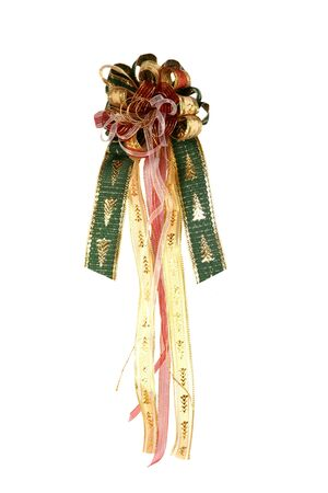 Beautiful handmade bow with Christmas trees on it photo