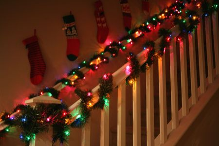 banisters: Lovely banisters decorated with Christmas garland and lights