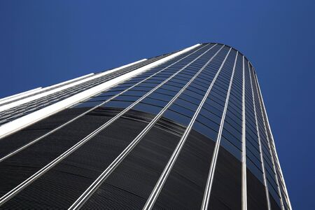 Extremely tall high-rise building in downtown Los Angeles, California photo