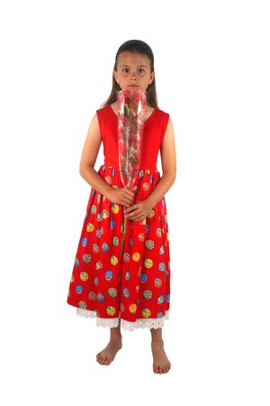 Young girl standing and holding a single red rose given to her by her Valentine photo