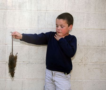 Grossed out young boy holding a dead rat Stock Photo - 854422