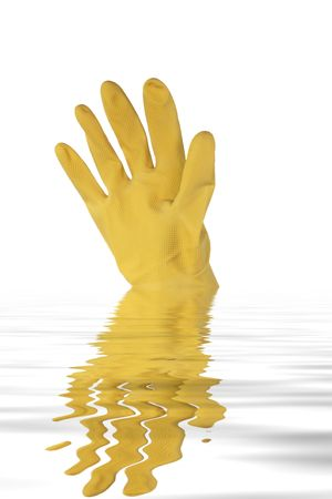 custodian: Brand new yellow rubber glove emerging from the water